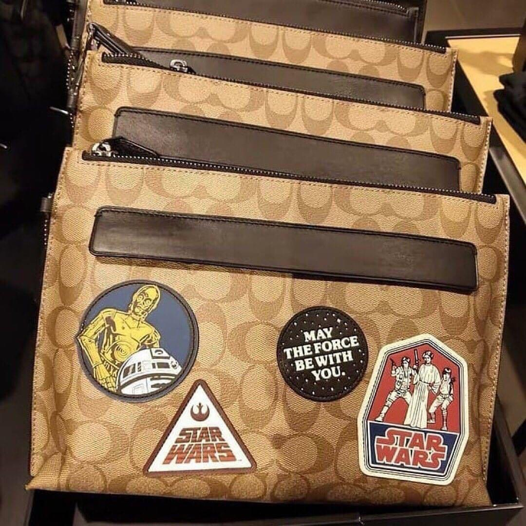 Authentic star wars x coach carryall pouch in signature canvas with patches