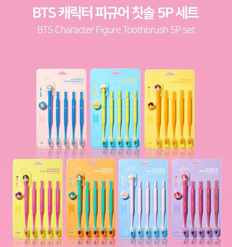 BTS CHARACTER FIGURE CHARACTER TOOTHBRUSH 5PCS SET