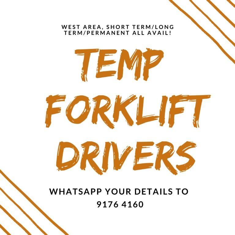 Forklift Drivers @ Jurong ( $10/hr | 3 Months to Long Term)