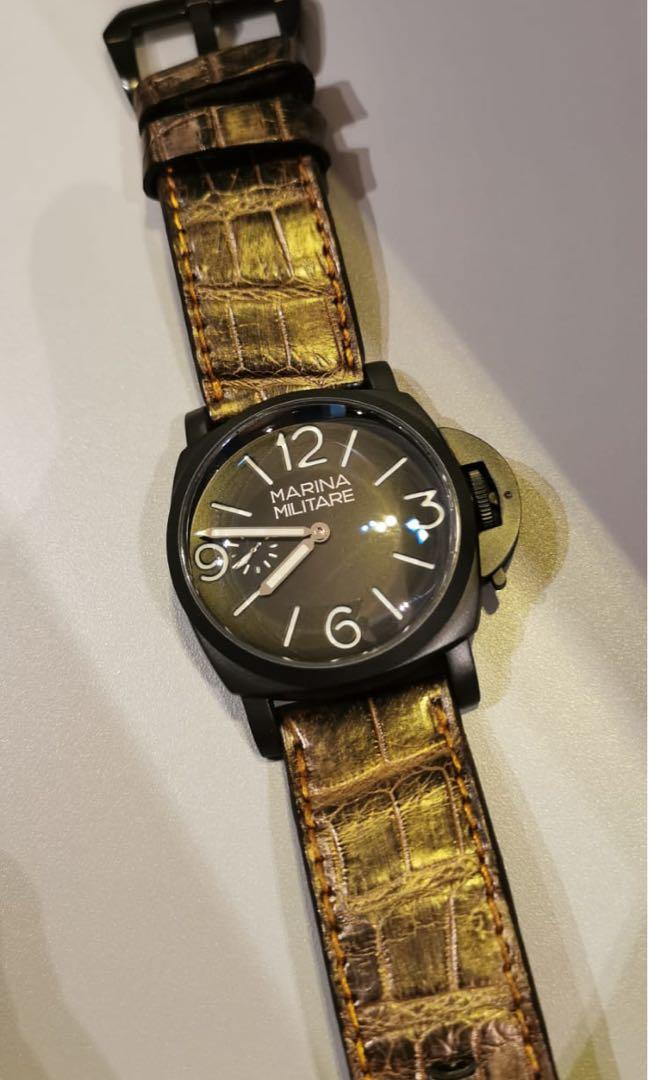 Handmade High Quality Genuine Alligator Belly Watch Strap for Panerai Black PVD or custom made for other watches