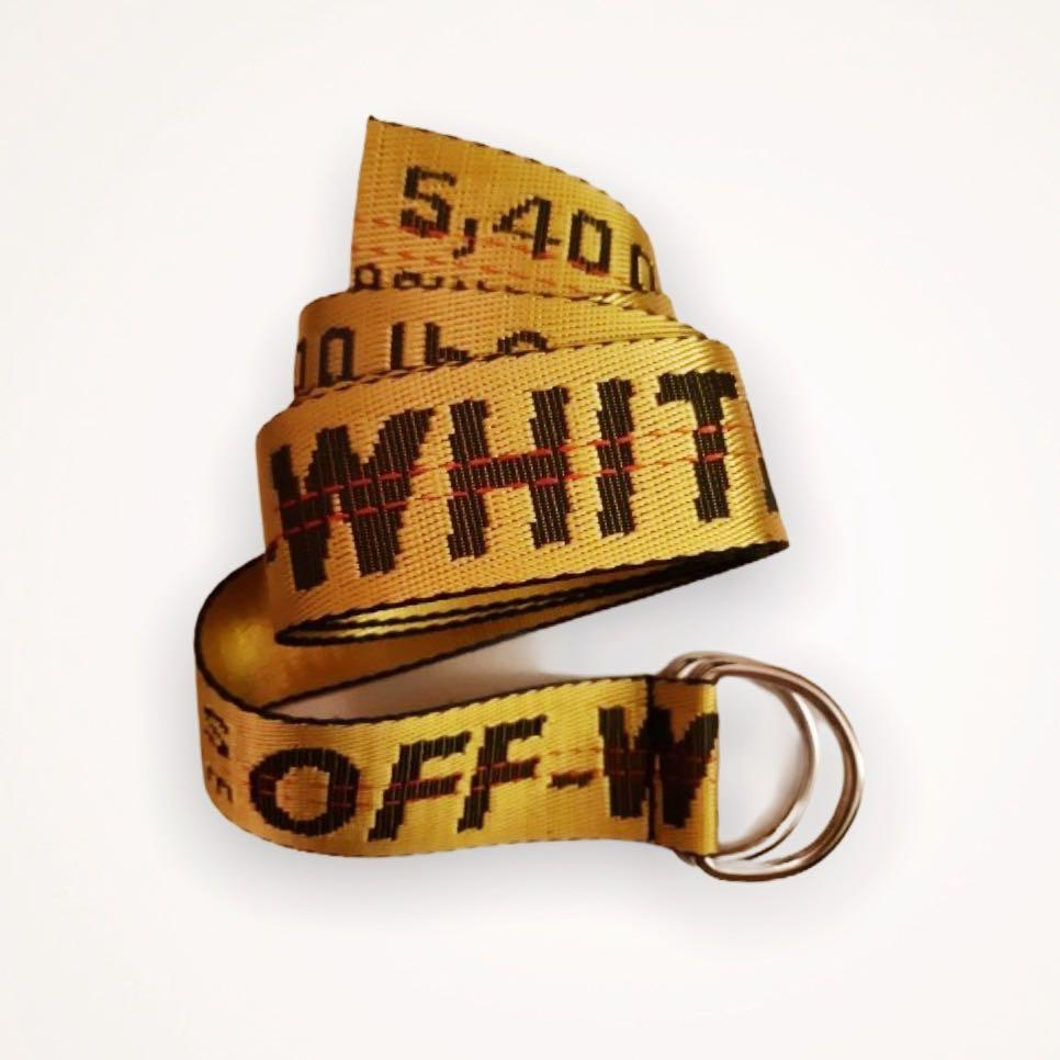 SHIPPING ONLY— OFF WHITE DUPE yellow canvas long belt
