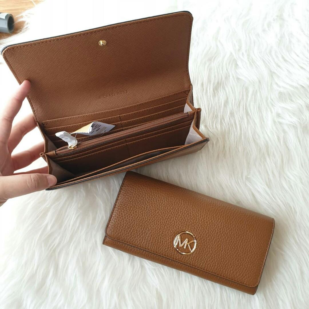 READY - MICHAEL KORS Fulton 35H8GFTE1L Flap Continental Leather Wallet (Luggage)