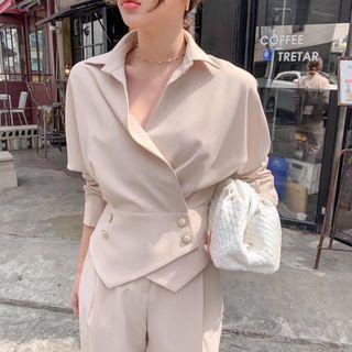🇰🇷韓國空運預訂✈️氣質裸杏排釦西裝V領抓皺七分袖兩件式褲裝套裝