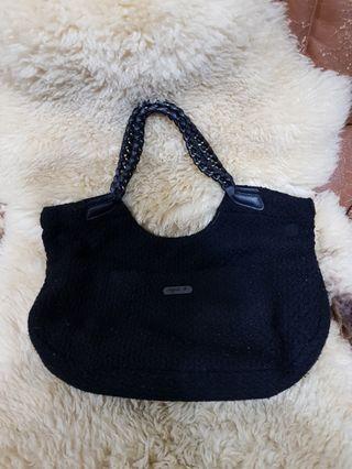 agnes b(小b)毛呢皮革鏈帶手提/肩背包(正品)
