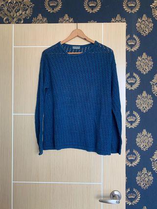 🉐 《老時光》 🉐日本古著 藍色針織衫vintage🉐🉐🉐🉐🉐🉐