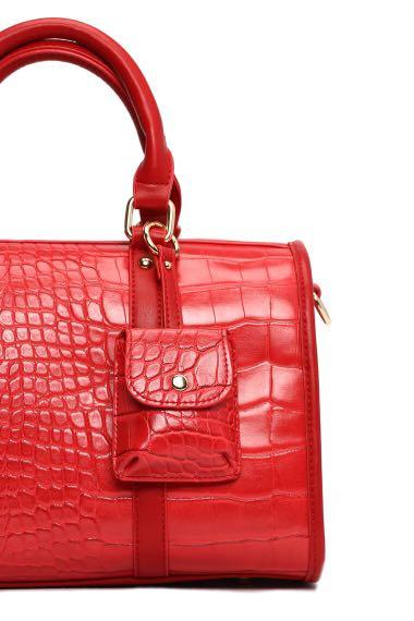 crossbody red Crocodile skin print top handle faux leather PU bag with strap mini duffel bag