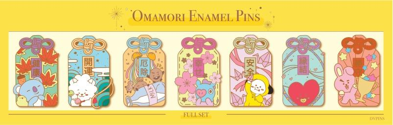 Enamel pins, acrylic charms, sticker pack and washi tape by @dvpins
