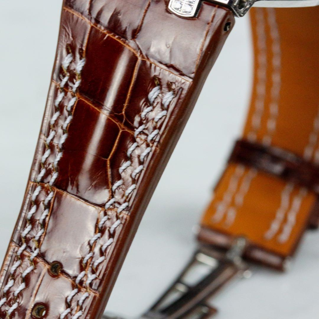 Handmade handstitched watch strap in chestnut crocodile leather for client's full diamond paved AP watch. #MADEinSG
