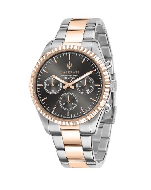Maserati Competizione Silver W/Rose Gold Steel Multi Function Men's Watches