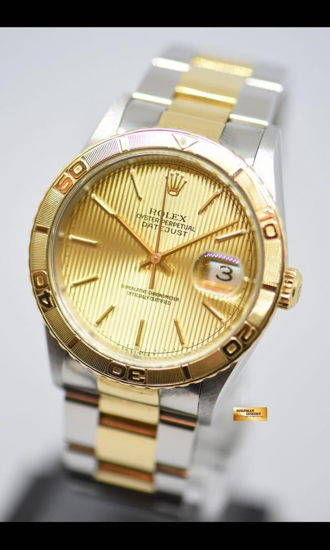 ROLEX OYSTER PERPETUAL DATEJUST 36mm HALF- GOLD TURN-O-GRAPH TAPESTRY GOLD DIAL 16263 (Quickset Date) (MINT)