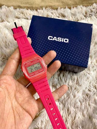 全新 現貨 CASIO卡西歐 當兵 學生 LED 輕便復古造型 運動錶 手錶 輕薄 桃紅 粉紅 螢光 電子錶 F-91W