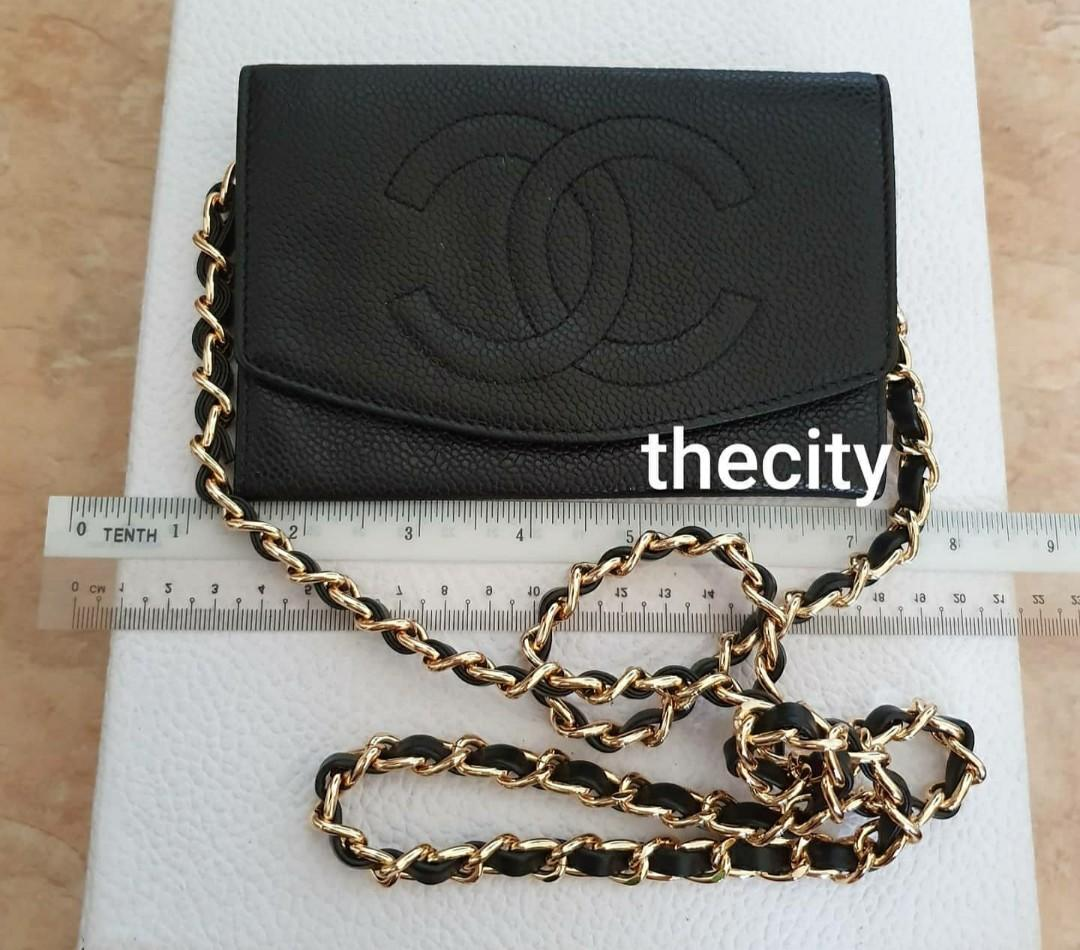 AUTHENTIC CHANEL BLACK CAVIAR LEATHER ORGANIZER / WALLET - BIG CC LOGO DESIGN - GOOD CONDITION - GOLD HARDWARE- HOLOGRAM STICKER INTACT - CLASSIC TIMELESS DESIGN- WITH EXTRA ADD HOOKS & CHAIN STRAP FOR CROSSBODY SLING
