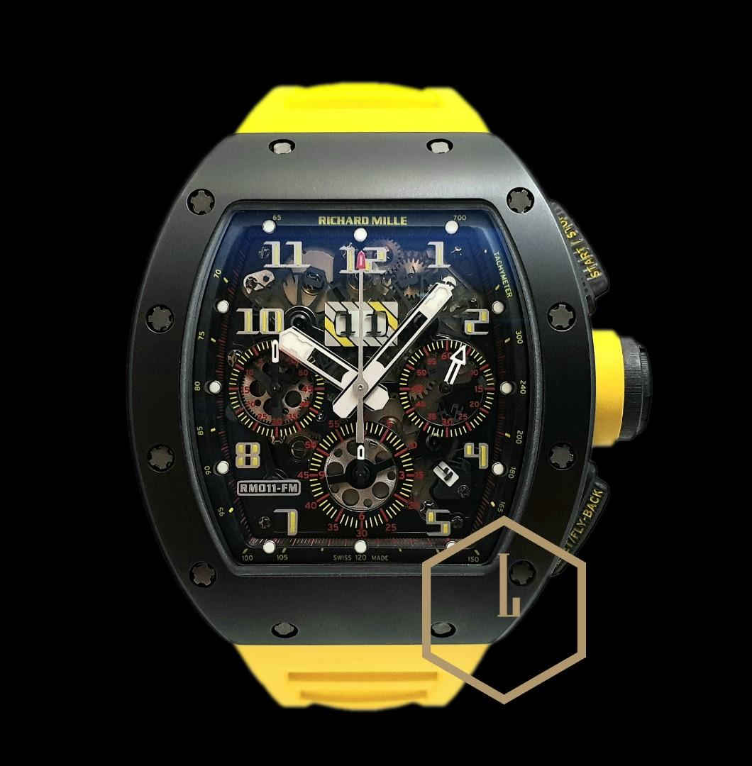 "Richard Mille RM011 Chronograph Rare Geneva Boutique Limited Edition of 15 Pcs in Black Ceramic Tzp & Tpt Carbon Complete ""Yellow"""