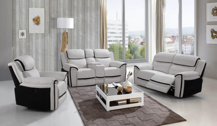 Two Tone White and Black Genuine Leather Sofa Set For Sale
