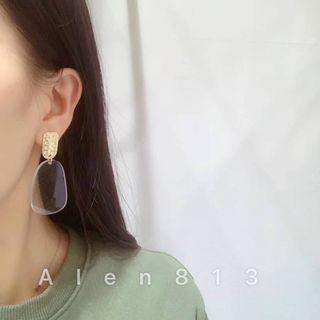 🇰🇷 韓國連線預購款 ✈️ 知性氣質金屬透明片垂耳耳環✨