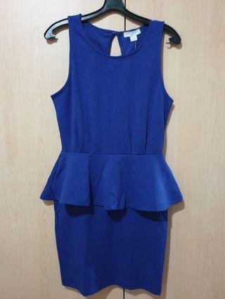 BNWT Cotton On Blue Peplum Dress