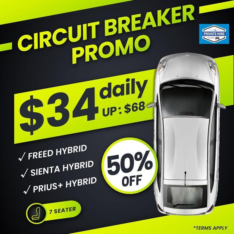 50% OFF - 7 Seater Hybrid                               ( Grab / PHV Car Rental )
