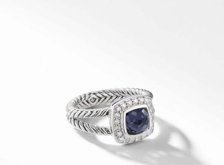 Authentic David Yurman Petite Albion Ring with Diamonds , 7mm Gemstone  Rare Black Orchid Gemstone