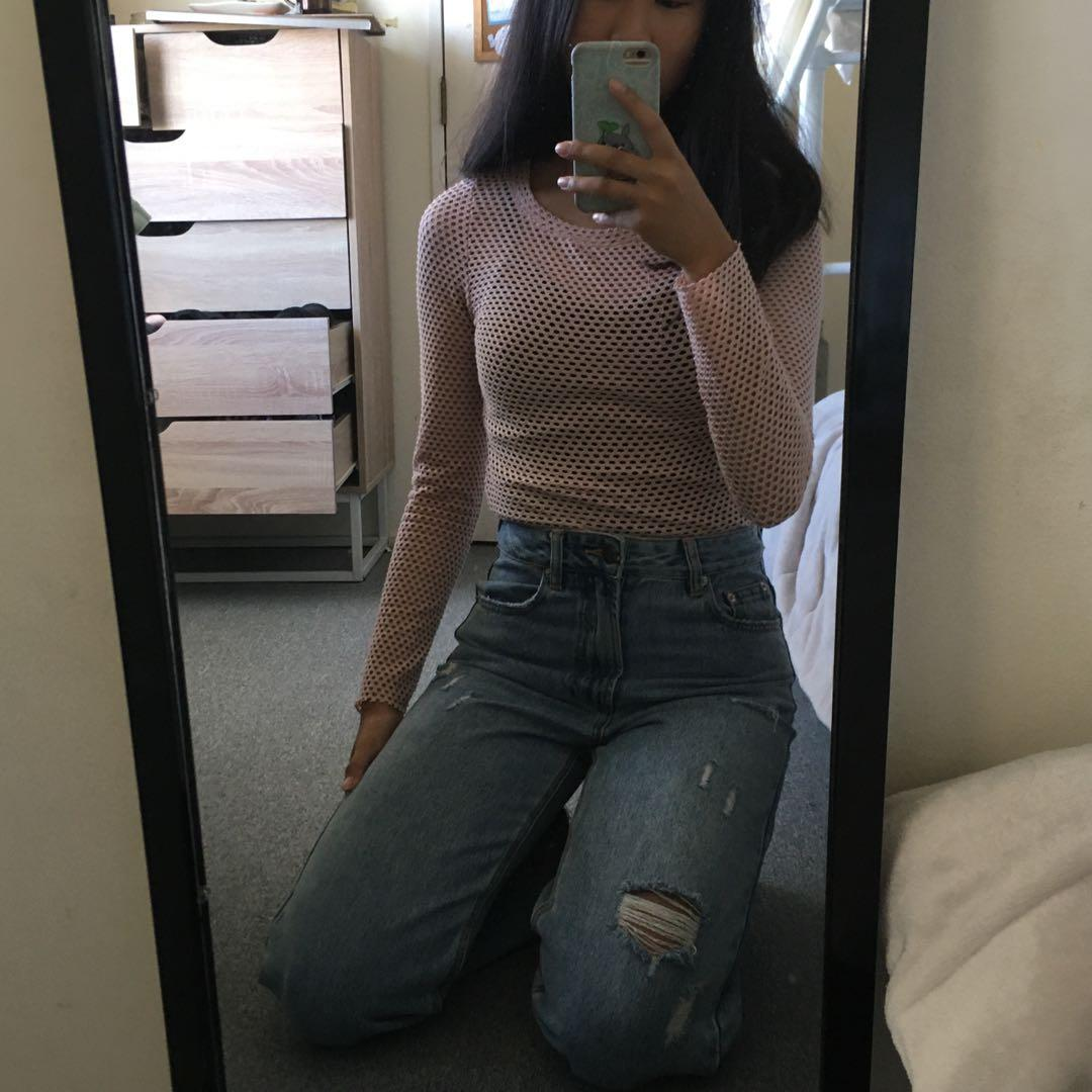 Cotton on pink mesh top