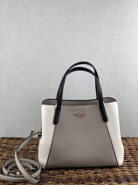 Kate Spade Jackson Medium Triple Compartment Satchel in Softtaupe/Optic White