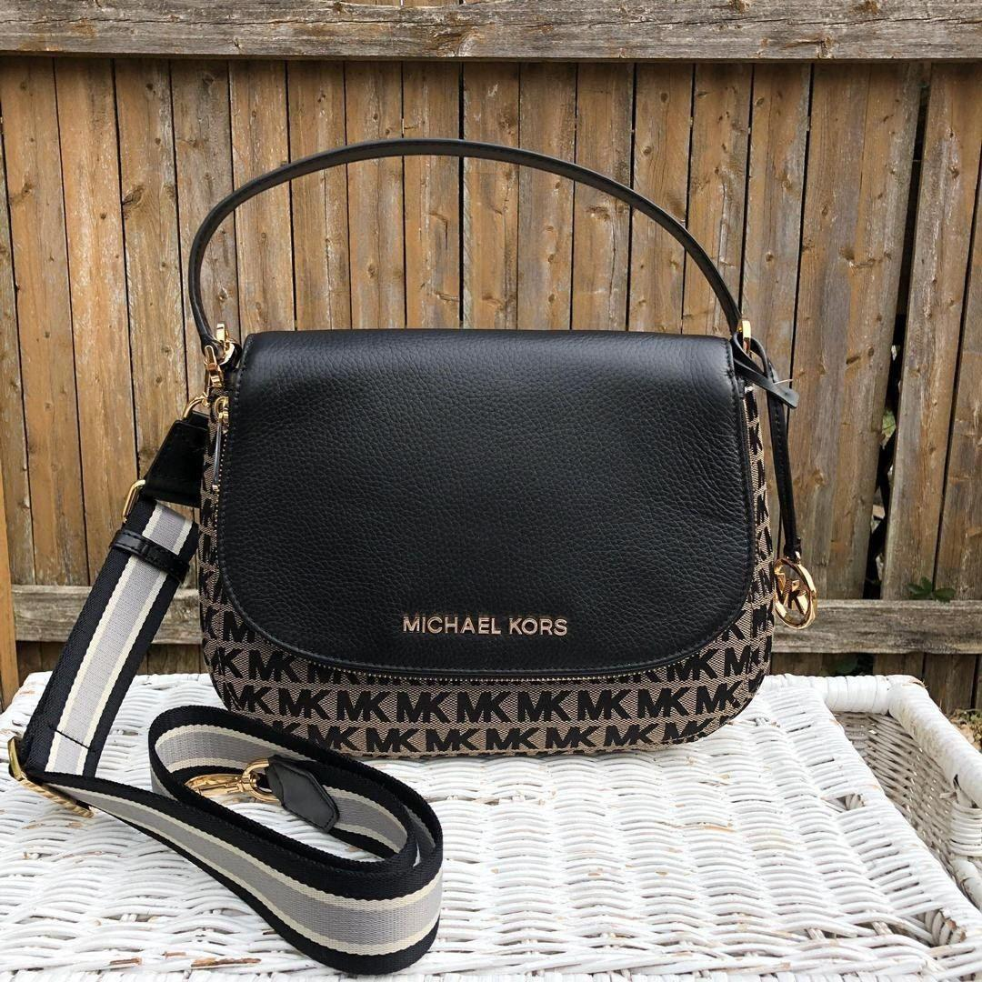 READY STOCK IN MALAYSIA   MICHAEL KORS BEDFORD MEDIUM CONVERTIBLE SHOULDER  BAG IN SIGNATURE BLACK (POSTAGE ONLY)