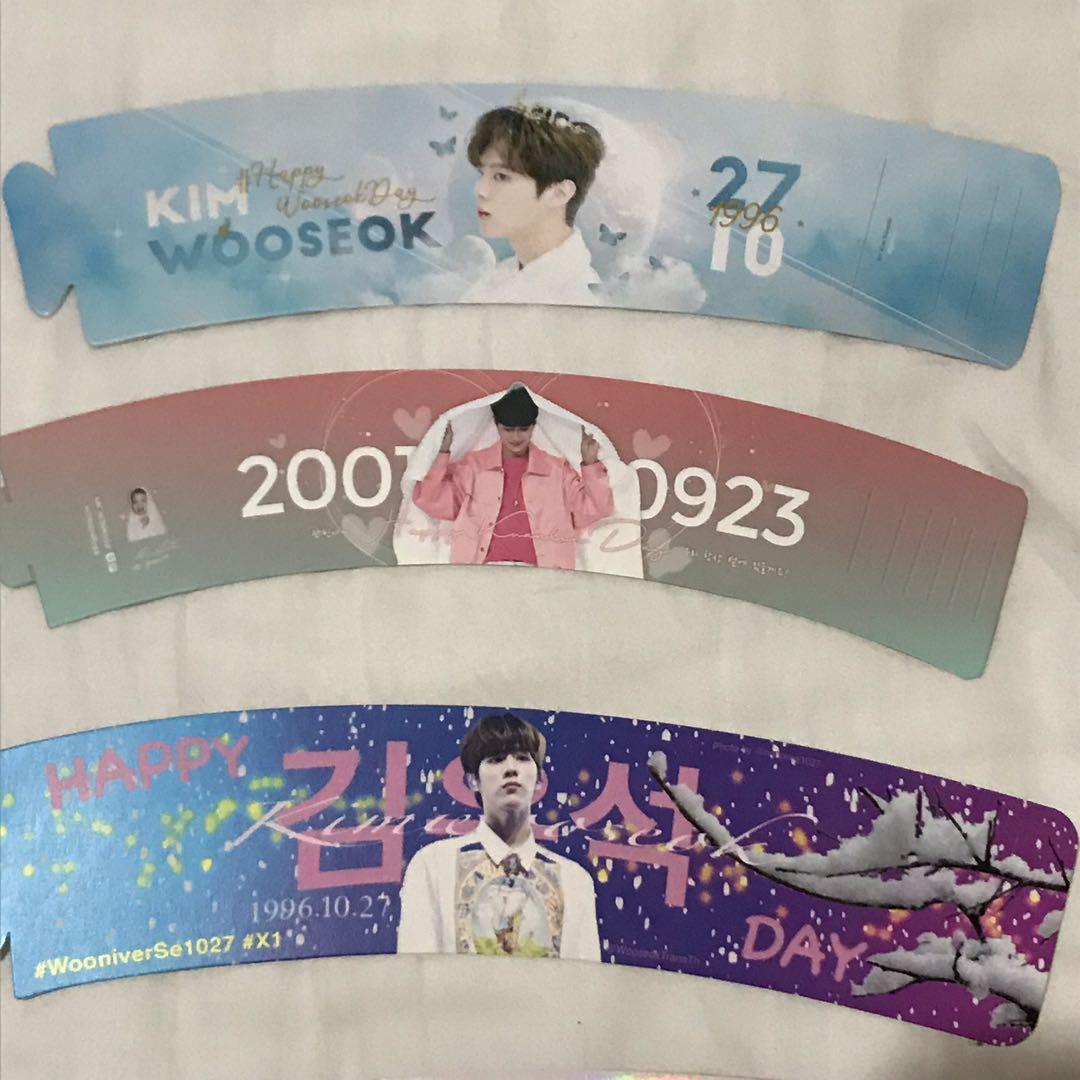 [WTS] Kpop Cupsleeves ; BAP Zelo, wooseok, jinhyuk, wanna one laikuanlin, i*zone joyuri, ikon hanbin, yohan, x1, up10tion, produce x 101