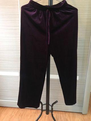 深紫色絨布寬褲
