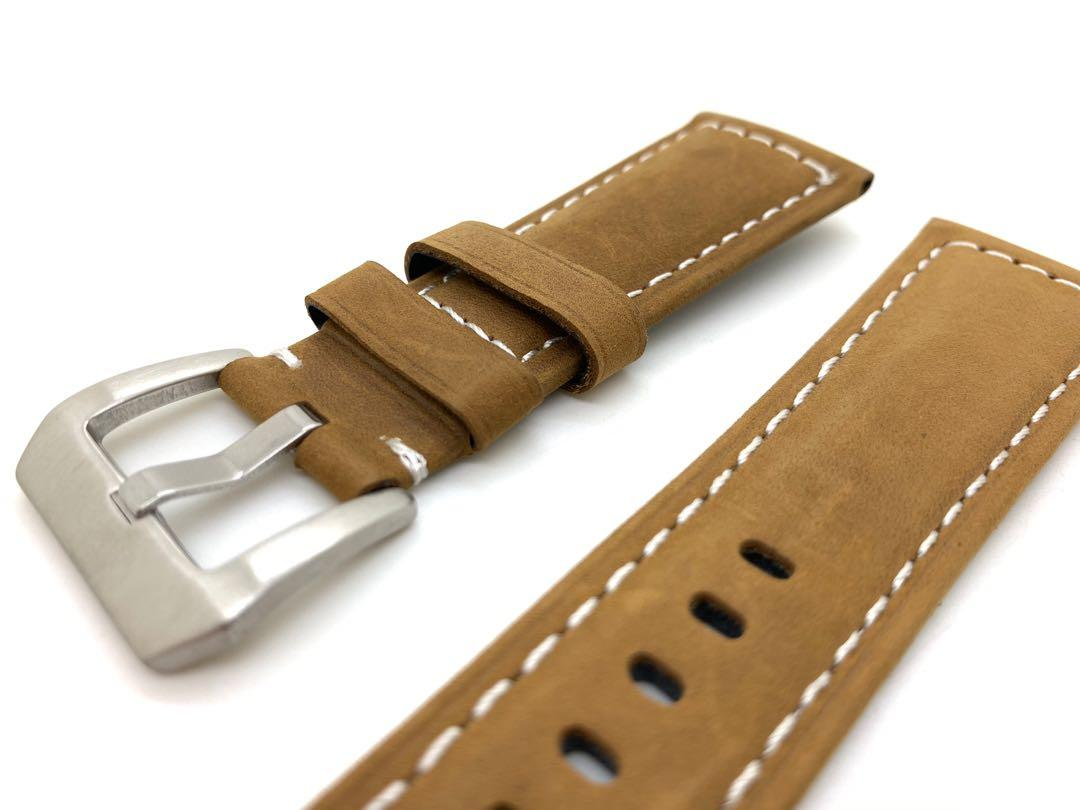 (Out of stock) 26mm Sand Brown Genuine leather watch Strap Watchband with Silver Stainless Steel tang Buckle for PAM Panerai