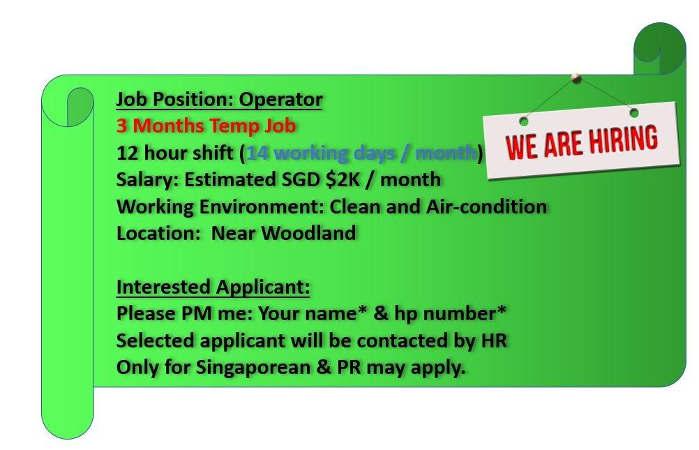 3 months part time 12hr shift operator $2k per month