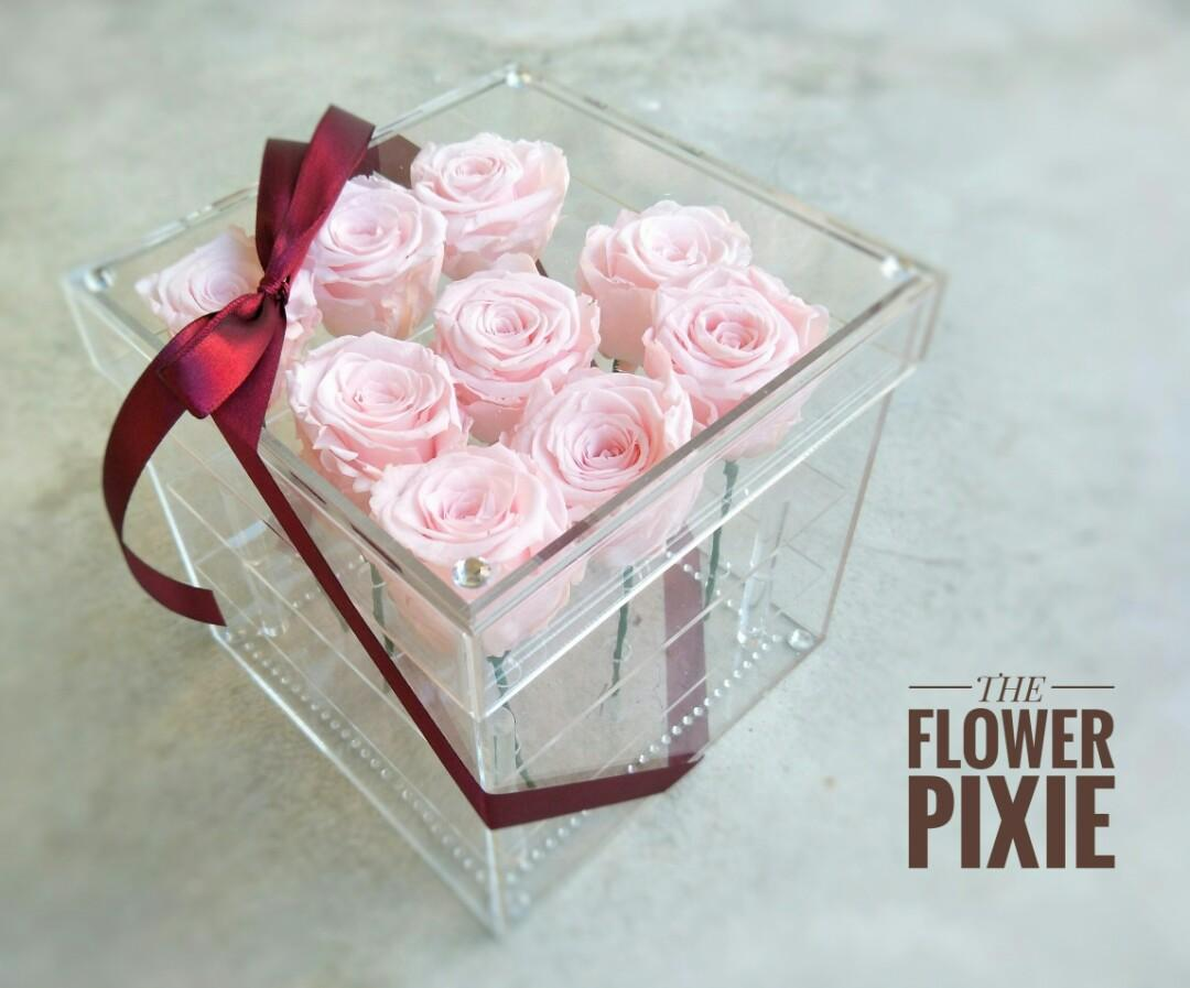 Ab05 Free Delivery Acrylic Box Preserved Pink Roses With Faux Diamonds Birthday Flower Anniversary Flower Proposal Flower Graduation Flower Valentine S Day Flower Mother S Day Flower Florist Flower Delivery Gardening Flowers Bouquets On Carousell