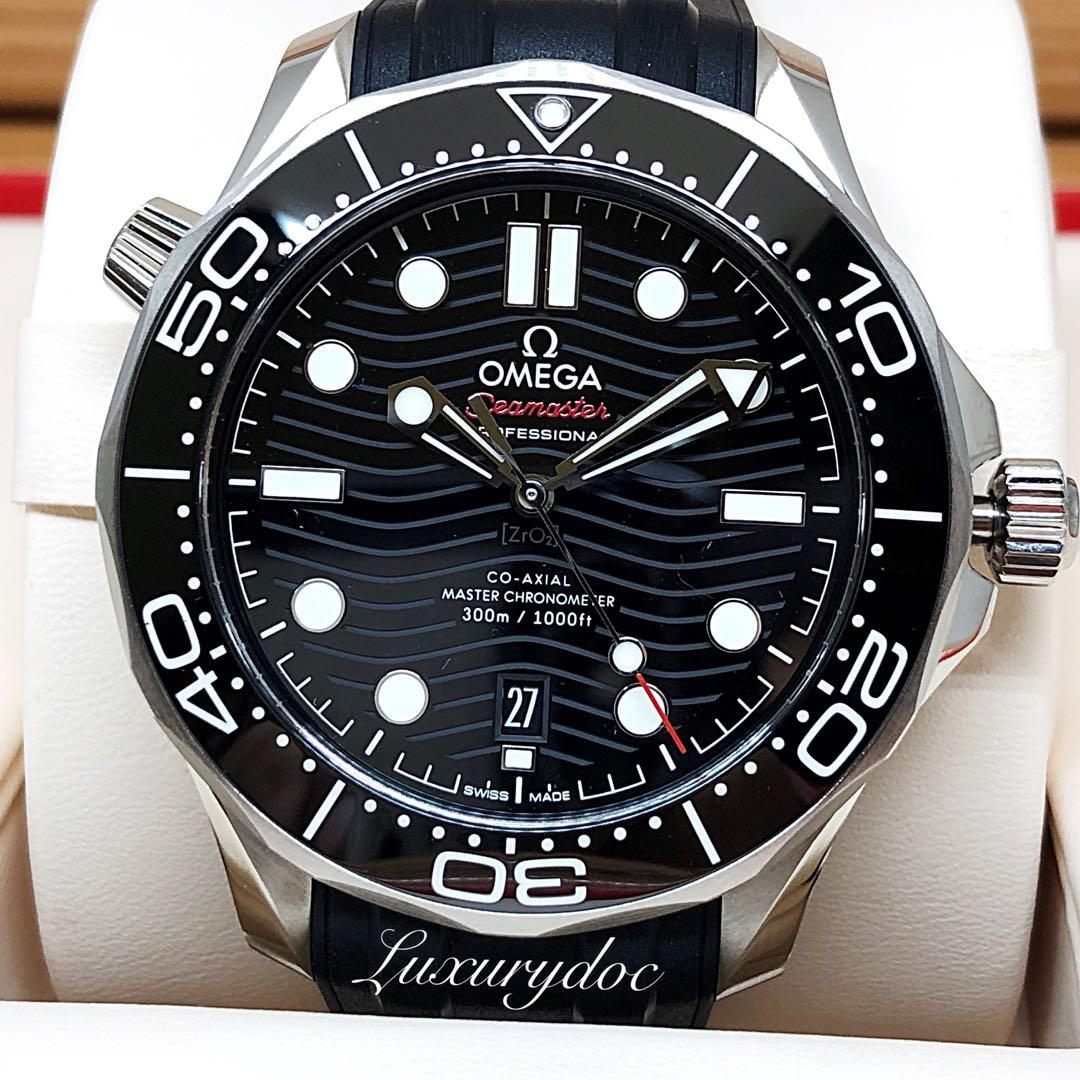 FS.BNIB OMEGA DIVER 300M CO-AXIAL MASTER CHRONOMETER BLACK DIAL ON RUBBER STRAP 42MM WATCH 210.32.42.20.01.001