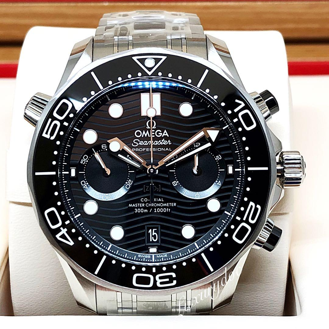 FS.BNIB OMEGA SEAMASTER DIVER 300M CO AXIAL MASTER CHRONOMETER AUTOMATIC CHRONOGRAPH BLACK DIAL ON STEEL BRACELET 44MM WATCH 210.30.44.51.01.001