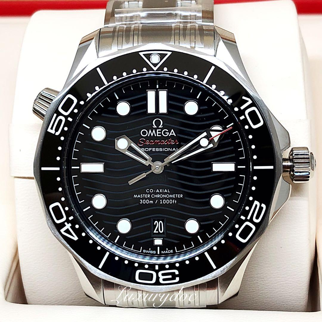 FS.BNIB OMEGA SEAMASTER DIVER 300M CO-AXIAL MASTER CHRONOMETER AUTOMATIC BLACK DIAL ON BRACELET 42MM WATCH 210.30.42.20.01.001