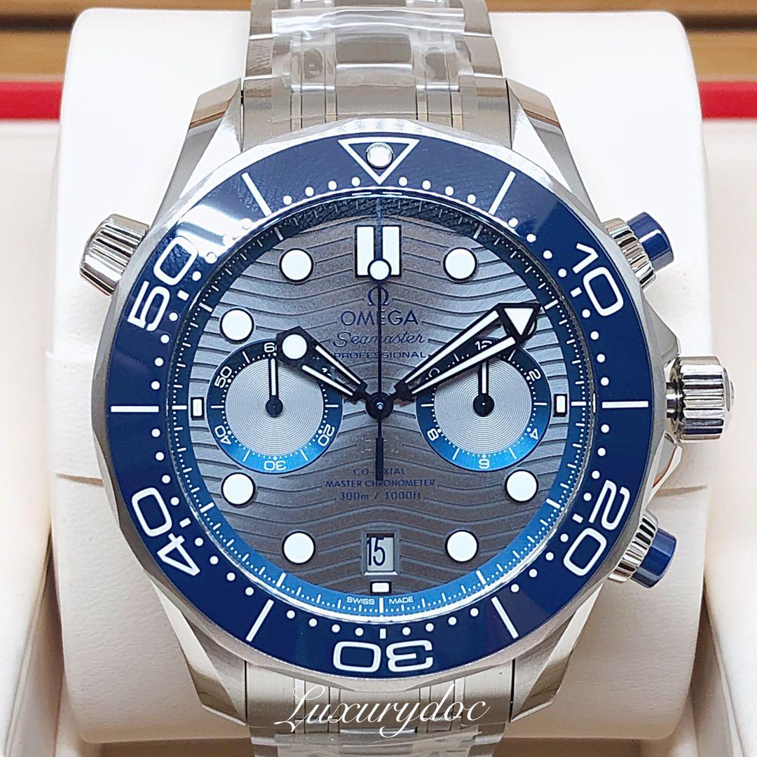 FS.BNIB OMEGA SEAMASTER DIVER 300M CO-AXIAL MASTER CHRONOMETER AUTOMATIC CHRONOGRAPH GREY DIAL ON BRACELET 44MM WATCH 210.30.44.51.06.001