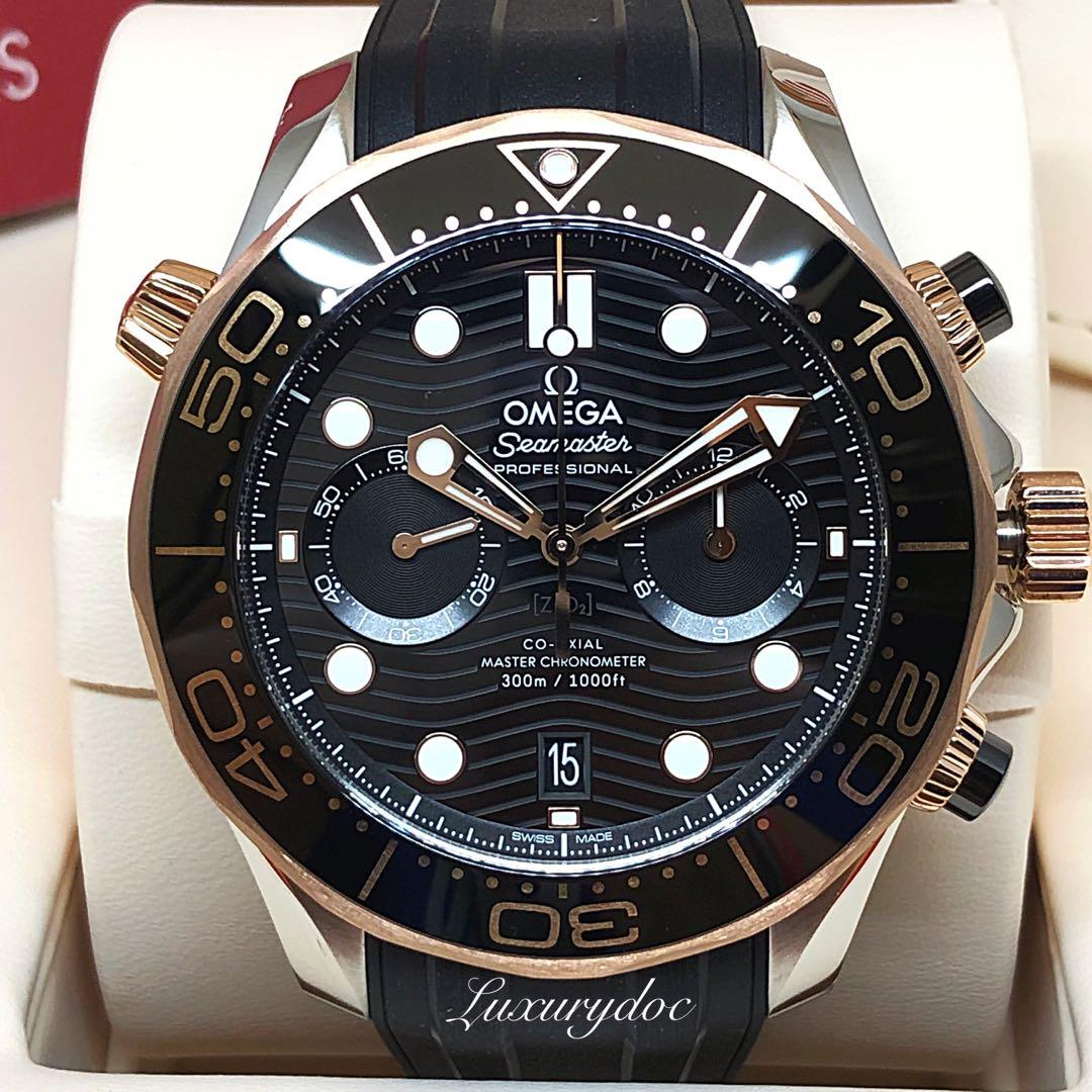 FS.BNIB OMEGA SEAMASTER DIVER 300M CO-AXIAL MASTER CHRONOMETER AUTOMATIC CHRONOGRAPH TWO TONE SEDNA GOLD ON RUBBER 44MM WATCH 210.22.44.51.01.001