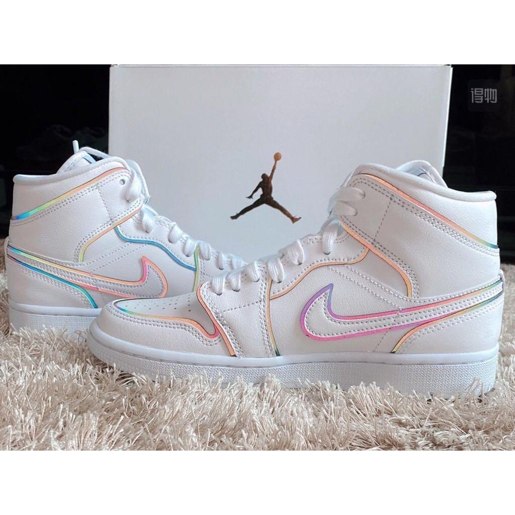 Nike Air Jordan 1 Mid Se Iridescent Outline Casual Sneakers Shoes