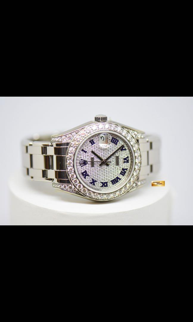 ROLEX OYSTER PERPETUAL PEARLMASTER 34mm 18K WHITE GOLD ORIGINAL DIAMOND PAVED DIAL AND ROLEX FACTORY DIAMONDS 81159 (MINT)