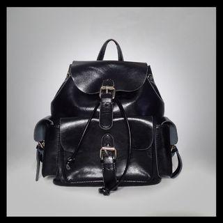 🖤 Harajuku Black Patent Leather Backpack - Genuine Leather 🖤