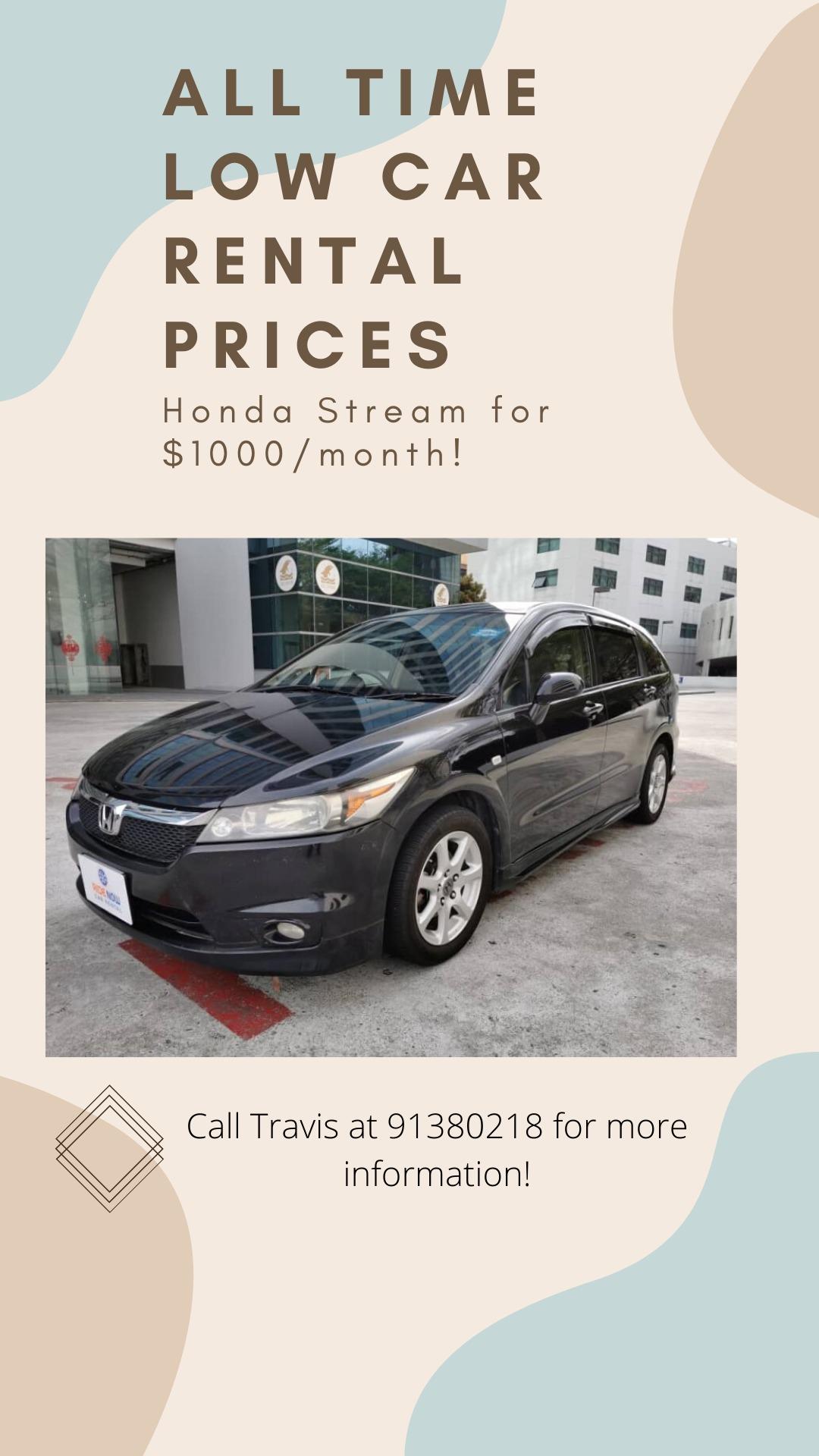 Honda Stream 1.8A MPV Cheapest Car Rental Prices Ever! Check with us now!