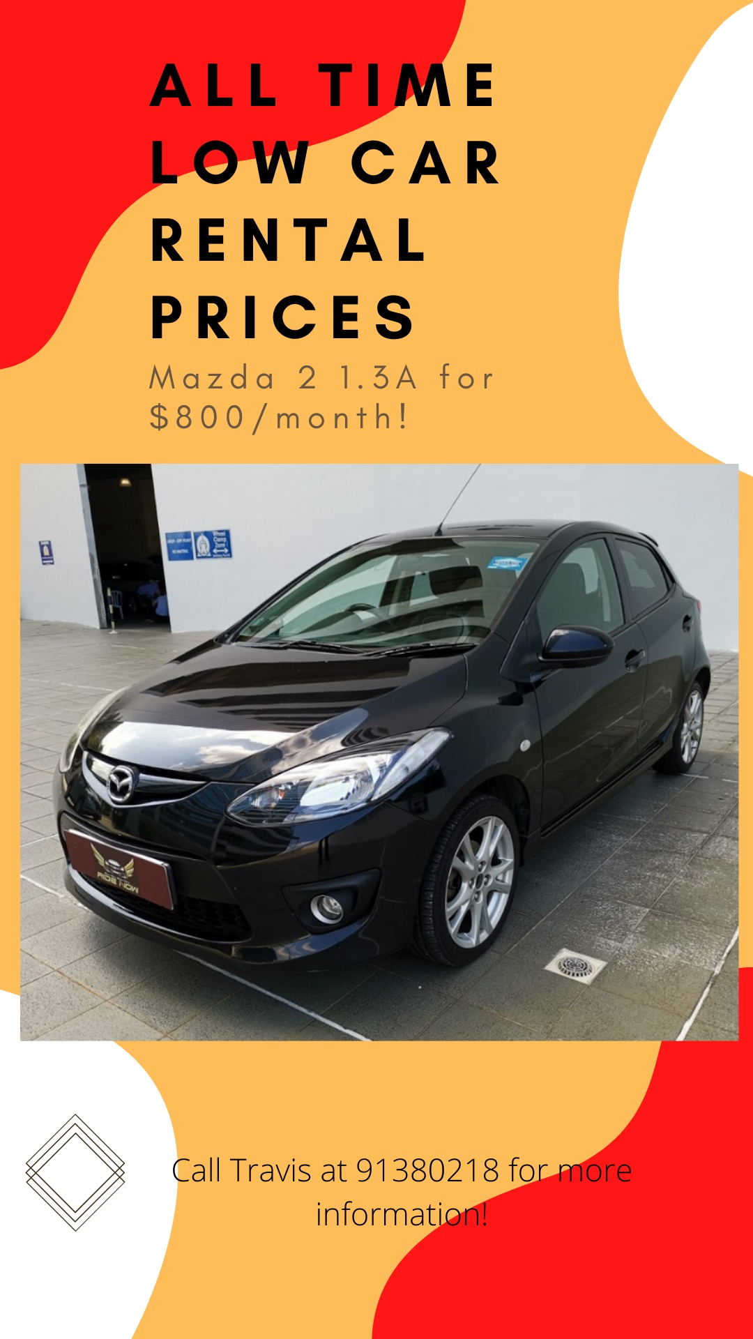 Mazda 2 1.3A - Hatchback (Grab/Delivery Ready) Cheap Price with Good Fuel Efficiency!