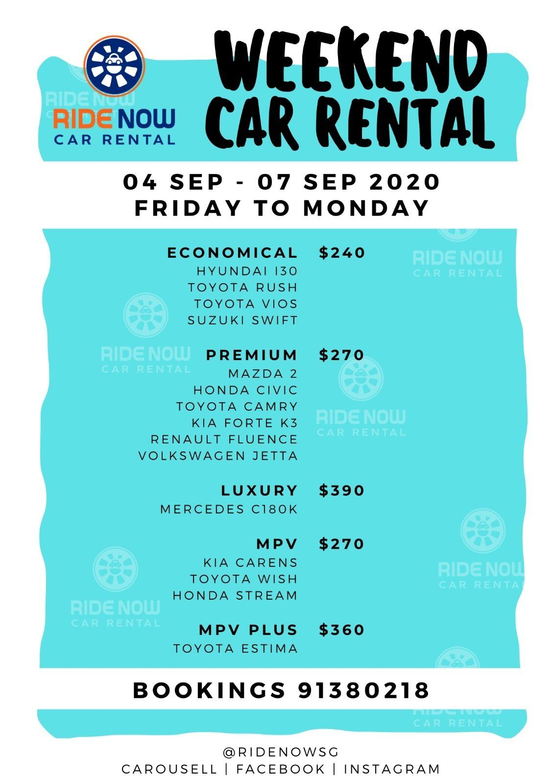 Weekend Rentals! Promotional Prices for September! Hatchback / Sedan / MPV / Luxury - Cheap prices and P Plate Friendly