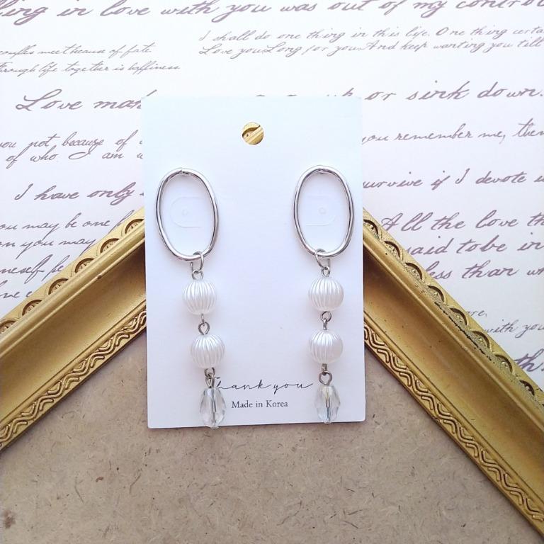 框框珍珠水晶耳環