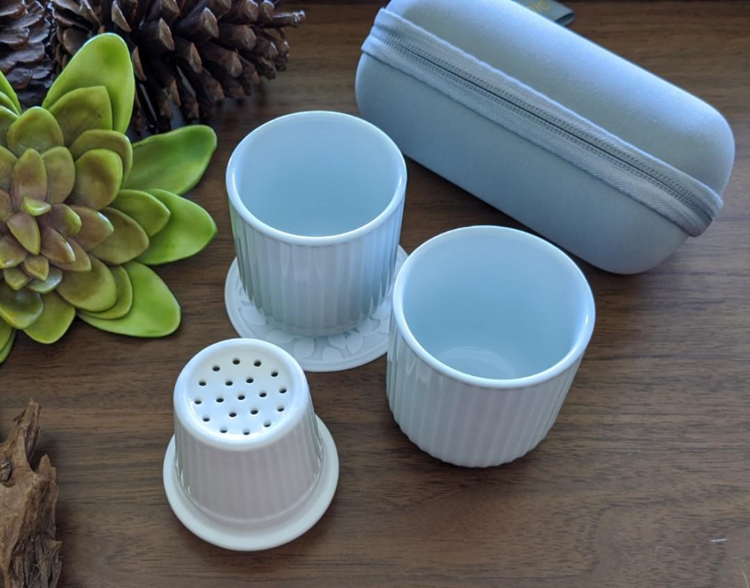 旅行用雙人陶瓷茶杯