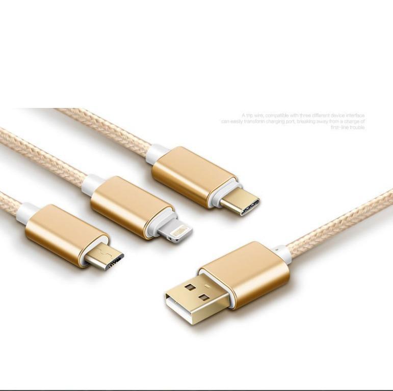 品名: USB適用APPLE 蘋果安卓TypeC 三合一數據線手機數據線充電線(顏色隨機 J-14046