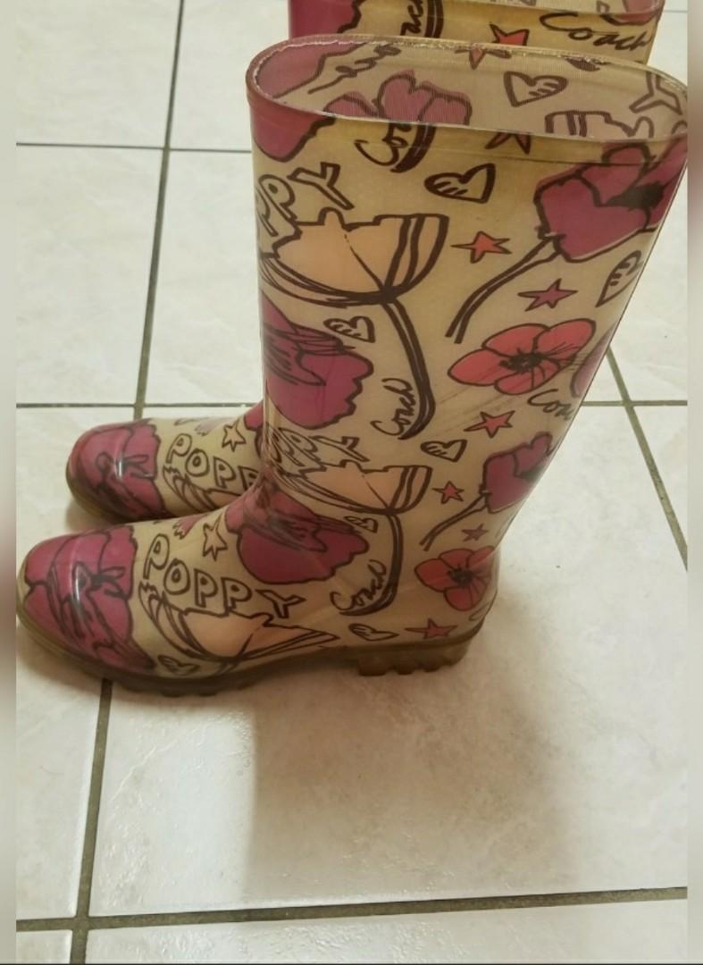 Authentic Coach Poppy Rain Boots - size 7