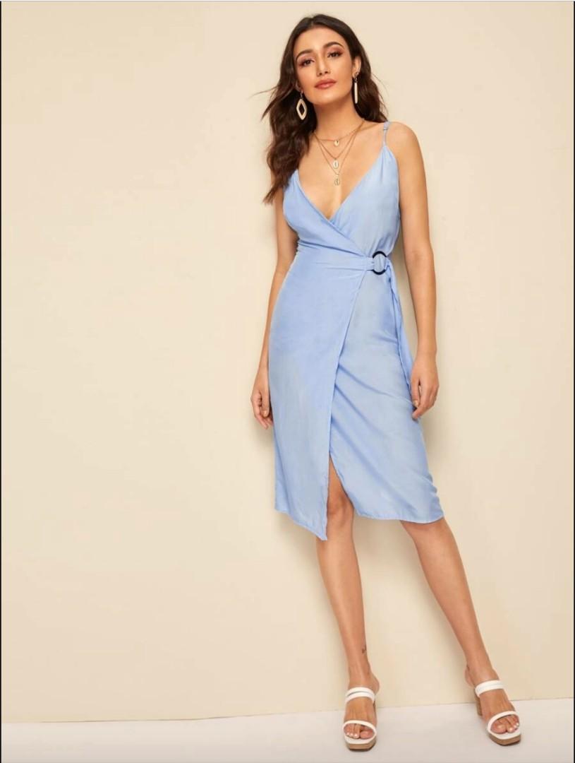 Baby-blue Wrap Dress