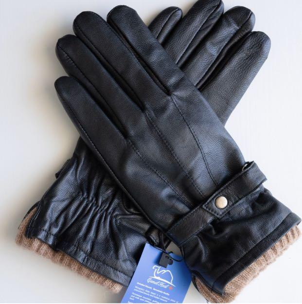 Camel wool men gloves