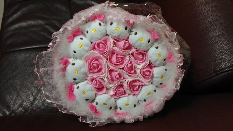 Hello Kitty浪漫情人節花束 Hello Kitty新娘捧花 歡迎至三重自取