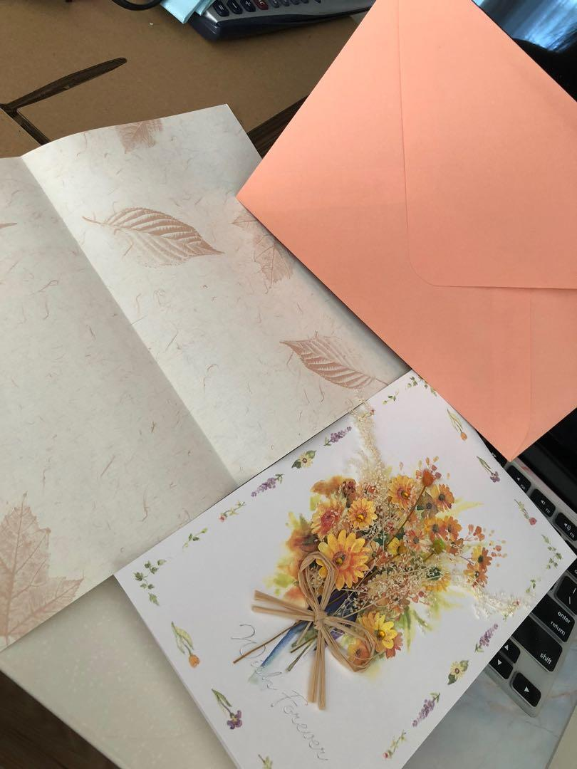 Kartu ucapan bunga matahari 3D timbul dried flower greeting cards amplop