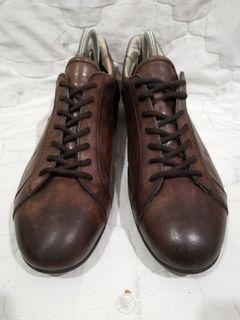 SANTONI Brown Leather Sneakers 7.5UK